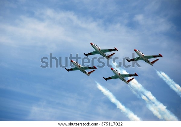 Four planes on air show