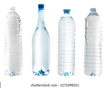 four plastic bottle of water close caps isolated on a white background