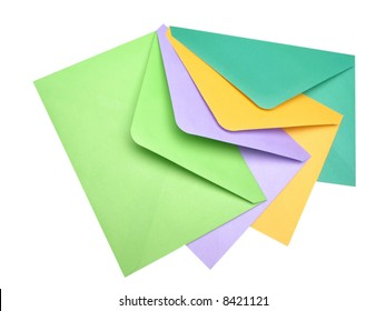 four post envelopes on  white background,  close up