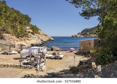 Four poster bed on beach at Puerto de San Miguel, Ibiza, Spain,