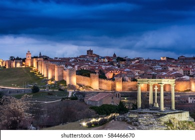 The Four Posts and Medieval wall - Avila - Spain