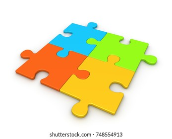 Four puzzle pieces joined together. 3d render.
