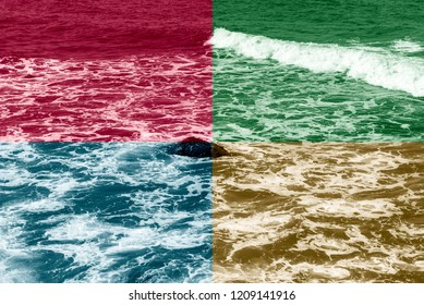 Four quadrant colors on ocean, red, blue, brown and green.