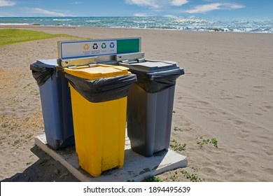 Four Recycle Bins for selective recycle in a beach