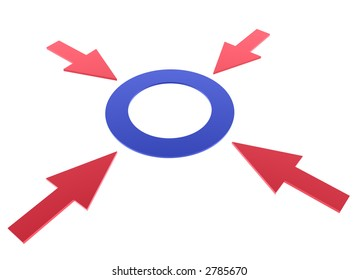 four red arrows around blue circle