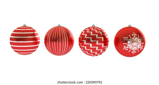 Four red Christmas balls