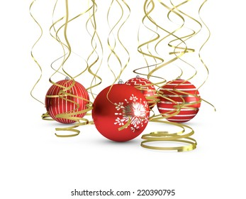 Four red Christmas balls with gold ribbons