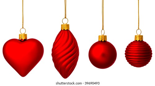 Four red Christmas baubles with gold thread