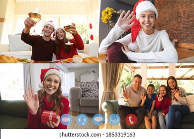 Four screens showing people having christmas video chats. family and friends at home, wearing santa hats interacting, smiling, waving, making a toast with wine glasses. social distancing during covid