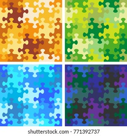 Four seamless jigsaw puzzle patterns, backgrounds, prints, swatches or wallpapers with whimsically shaped pieces of variuos color sets