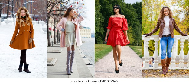 Four seasons - A collage of various young girls in trendy seasonal clothes, posing outside.