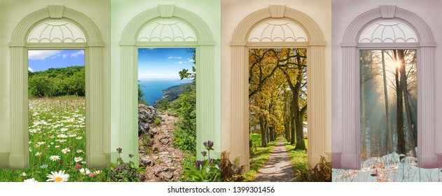 four seasons landscapes - nostalgic design with view through archway doors. meadow with marguerite, hiking trail garda lake italy, oak tree alley, winter forest