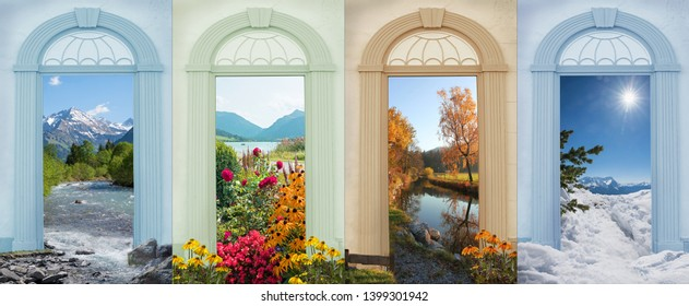 four seasons landscapes - nostalgic design with view through archway doors. stillach river, flowerbed spa garden, schlierach river, zugspitze mountain