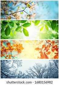 Four seasons. A pictures that shows four different pictures representing the four seasons: winter, spring, summer and autumn.  - Shutterstock ID 1680156982