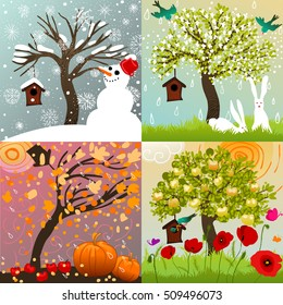 Four seasons set with tree, snowman, birdhouse, birds, bunnies, poppies, butterflies and pumpkins