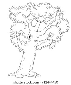 Four seasons. A summer tree. Coloring page. Coloring book. Illustration for children