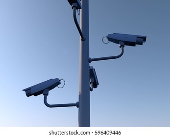 Four security cameras against blue sky background. 3D Rendering.