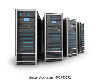 Four Server high-end, view top on white background (done in 3d rendering)