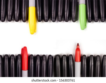 Four sets of markers with a variety of different color pens extending from the others.