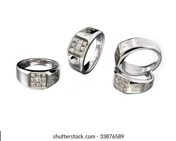 Four similar rings made for brothers or crews of a team