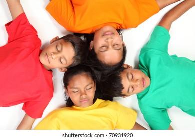 Four sleeping children