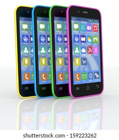 four smartphones with the cover in different colors (3d render)