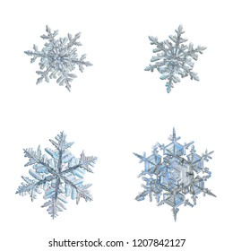 Four snowflakes isolated on white background. Macro photo of real snow crystals: elegant stellar dendrites with complex, ornate shapes, glossy relief surface, hexagonal symmetry and thin, long arms.