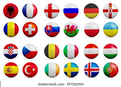 Four Soccer balls with groups team flags, Football Euro cup 2016.