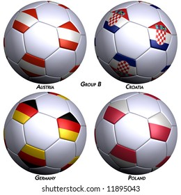 Four soccer-balls with flags of the countries in Group B in the European championship 2008. Hi-res 3D render with clipping path.