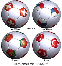 Four soccer-balls with flags of the countries in Group A in the European championship 2008. Hi-res 3D render with clipping path.