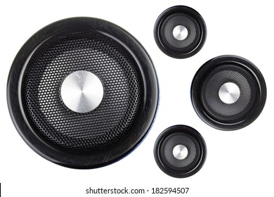 Four speakers isolated on a white background