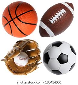 four sports balls