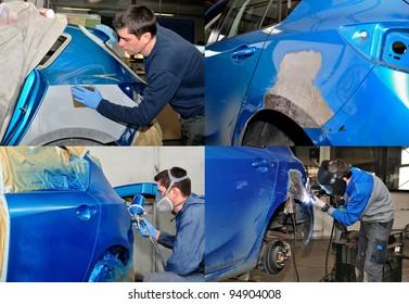 Four steps to repair a car crash - collage.