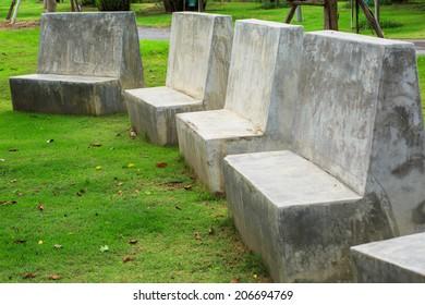 Four stone bench in the garden