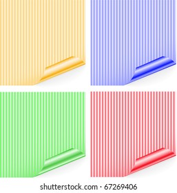 four striped colored sticker with curled corners