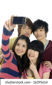 Four students taking picture