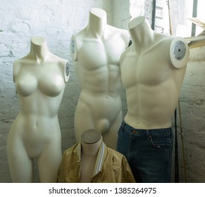 four stylish mannequins with profile window sunlight