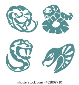 Four stylized snakes, monochrome, simple. Can be used as: template, mascot, for cutting on plotter.