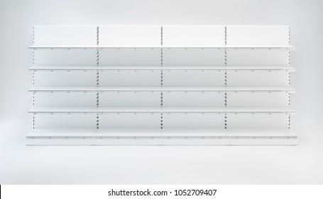 Vier Supermarkt-Showcase-Displays mit Regalen, die in der Reihe auf weißem Hintergrund bleiben