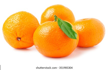 four tangerine with leaf on a white background.