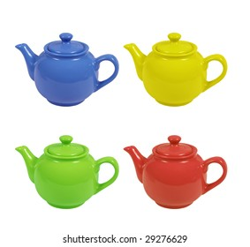 Four teapots of dark blue, green, red and yellow color on a white background.