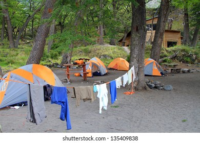 Four tents used by hikers in Patagonia (South America) for overnight sleep.