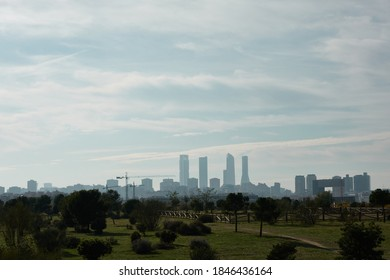The Four Towers of Madrid seen from the Valdebebas forest park. Spain