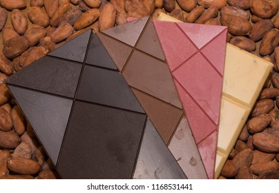 The four type of chocolate, dark, milk, ruby, and white.