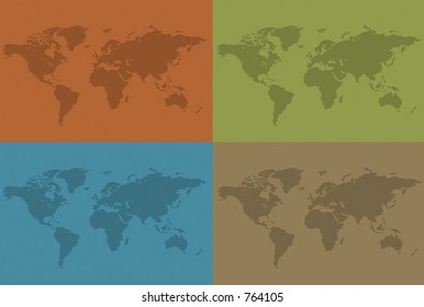 Four unfolded maps of the world in earth colors.