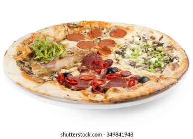 Four varieties of pizza in one big one. Toppings such as salami, mushrooms, bacon, peppers, olives, chicken and onions