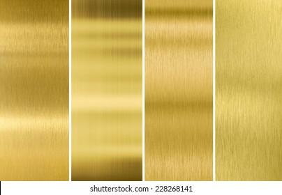 Four various brushed gold metal textures set