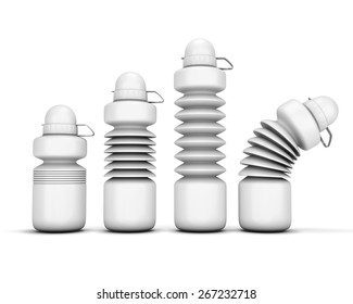 Four various species of collapsible sport water bottle for your design.  Collapsible sport water bottle isolated on white background. 3d illustration.