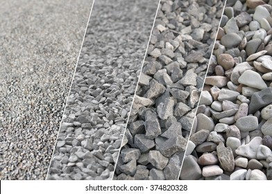 Four varying images of gravel in different sizes; Building material