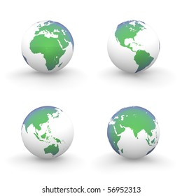 four views of a 3D globe with shiny green-blue continents and a white ocean
